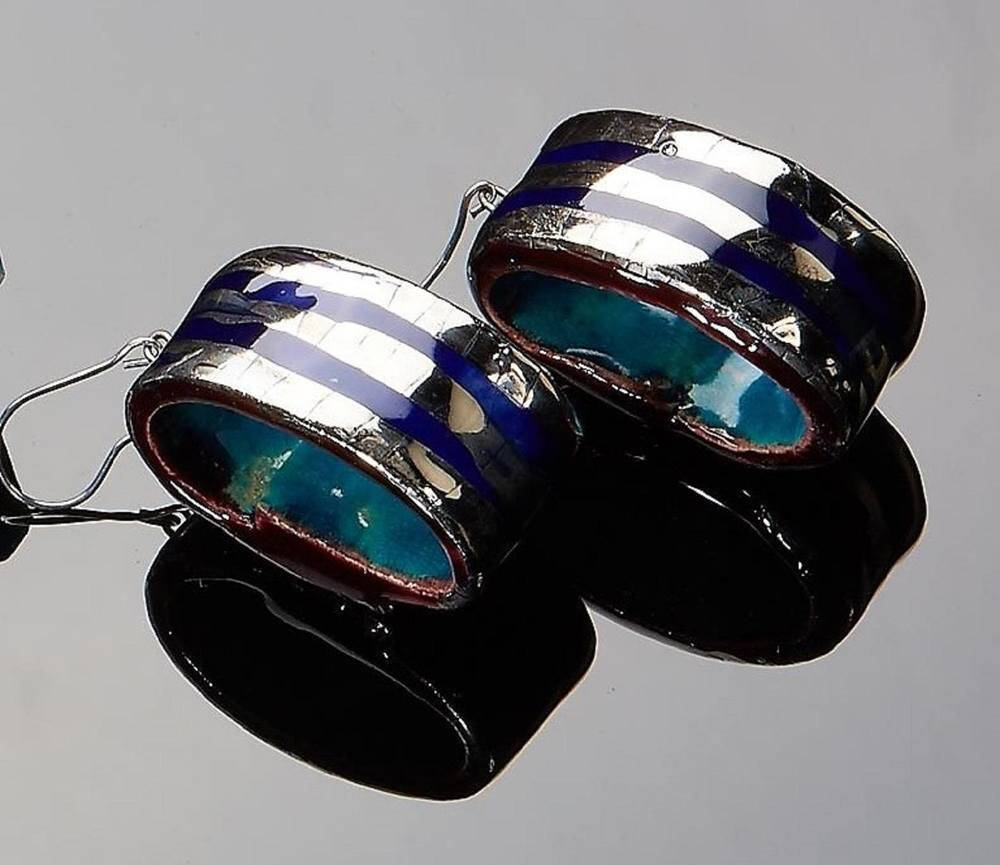 Atelier Hlavina: Blue - Platinum Set, Earings, Náušnice - Čisáriková Táňa