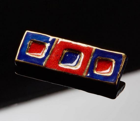 Atelier Hlavina: Dark blue - red, Set, Brooch - Čisáriková Táňa