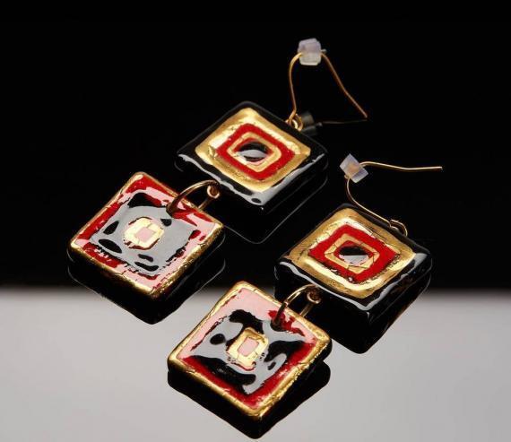Atelier Hlavina: Black and gold squares - Čisáriková Táňa