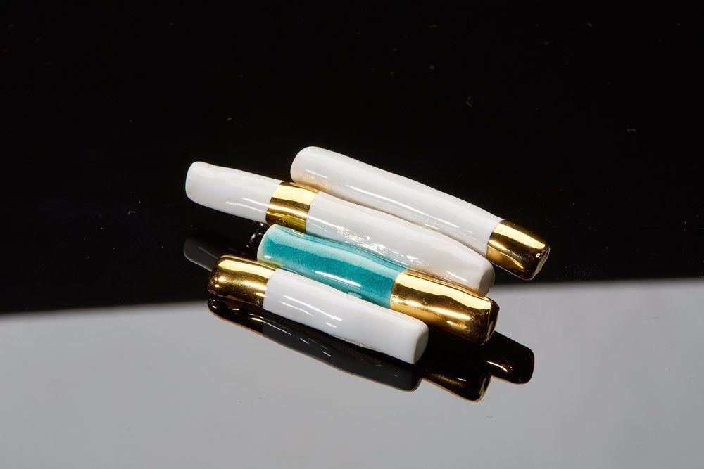 Atelier Hlavina: Turquoise - yellow - white brooch - Čisáriková Táňa