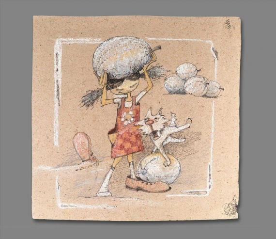 Atelier Hlavina: Girl, dog and their melons (original)  - Naglik Hana