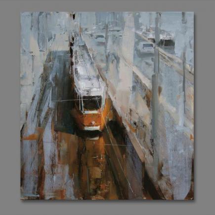 Atelier Hlavina: Tram Stop in The Morning- Nagy Tibor